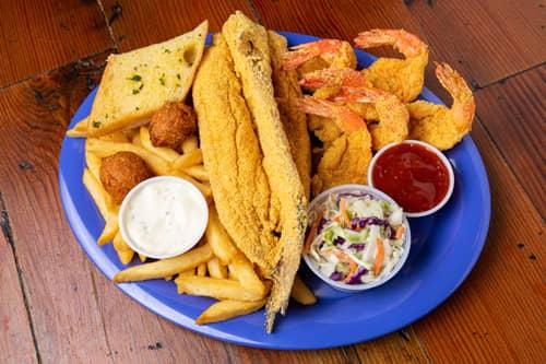 Capt. Benny's Whole Fried Catfish & Shrimp Dinner