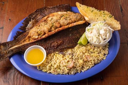 Capt. Benny's Whole Gulf Flounder, Stuffed Dinner